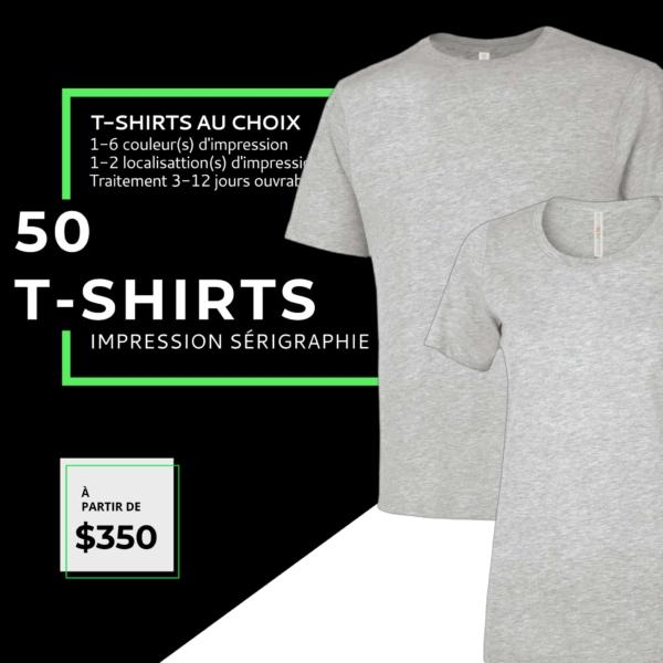 50 t-shirts personnalises sérigraphie
