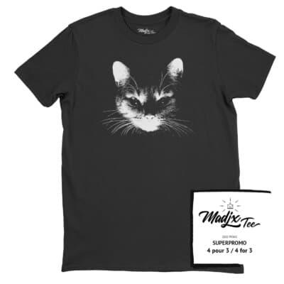 Tshirt de chat fait au Québec, tshirt Québec drôle, tshirt sérigraphie
