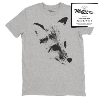 Tshirt de renard pour homme fait au Québec