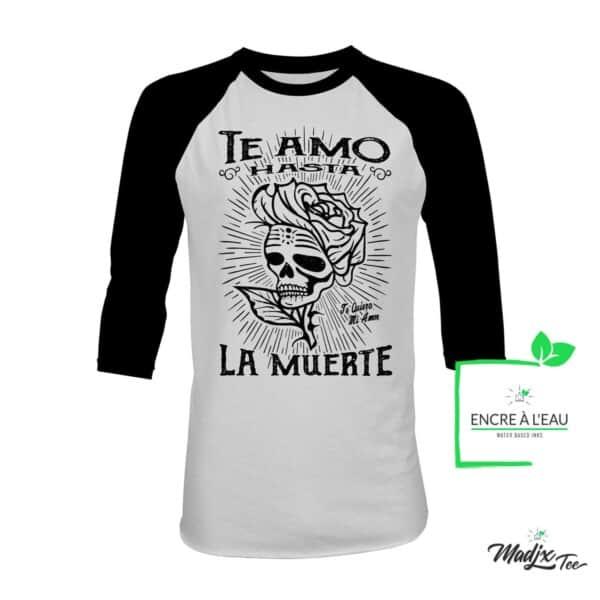 Te amo hasta la muerte tee | te amo hasta la muerte t-shirt RAGLAN 3/4 1