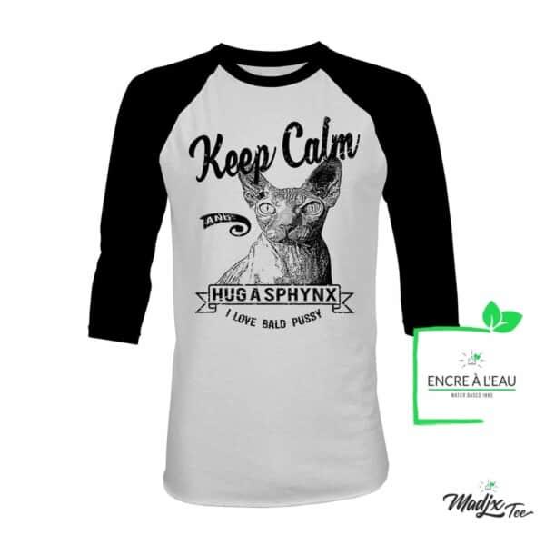 Keep Calm and Hug a Sphynx t-Shirt de chat | Cat raglan t-shirt | RAGLAN 3/4 1