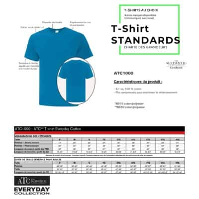 charte des grandeurs t-shirt standard