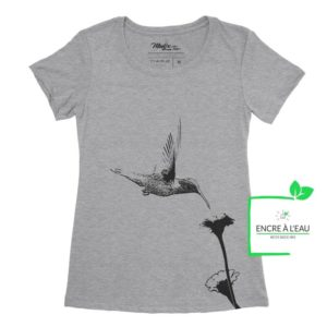 Colibri et fleur t-shirt pour femme, encre à base d'eau imprimé au Québec 6