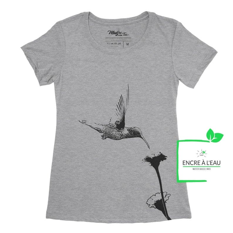 Colibri et fleur t-shirt pour femme, encre à base d'eau imprimé au Québec 1
