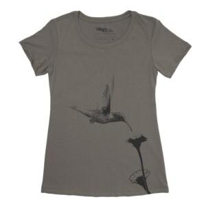 Colibri et fleur t-shirt pour femme, encre à base d'eau imprimé au Québec 7