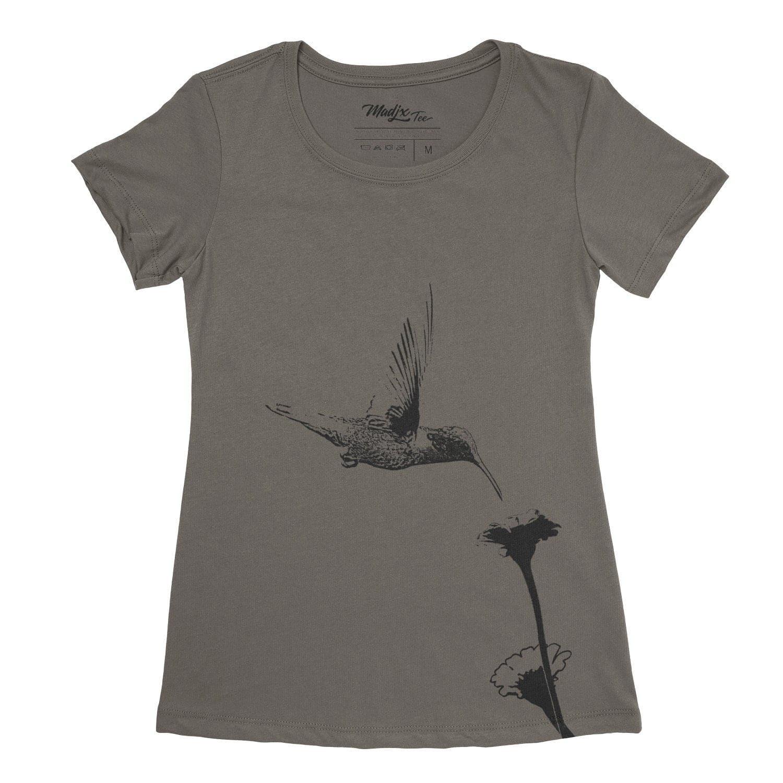 Colibri et fleur t-shirt pour femme, encre à base eau imprimé au Québec 4
