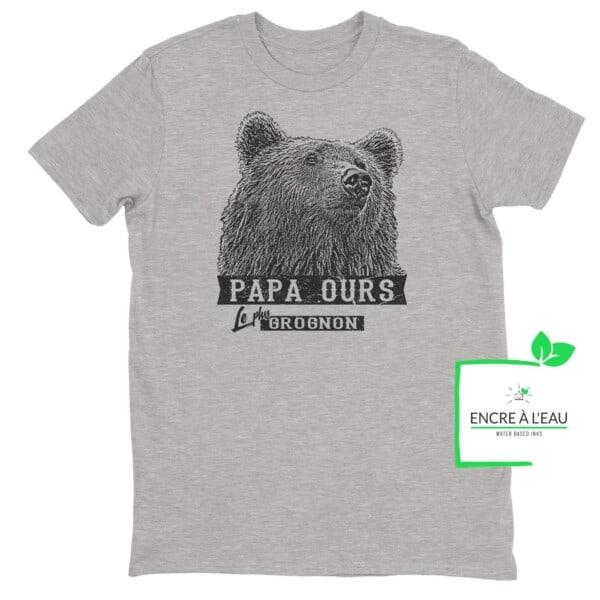 T-shirt Papa ours le plus grognon impression encre à eau fait au Québec 1