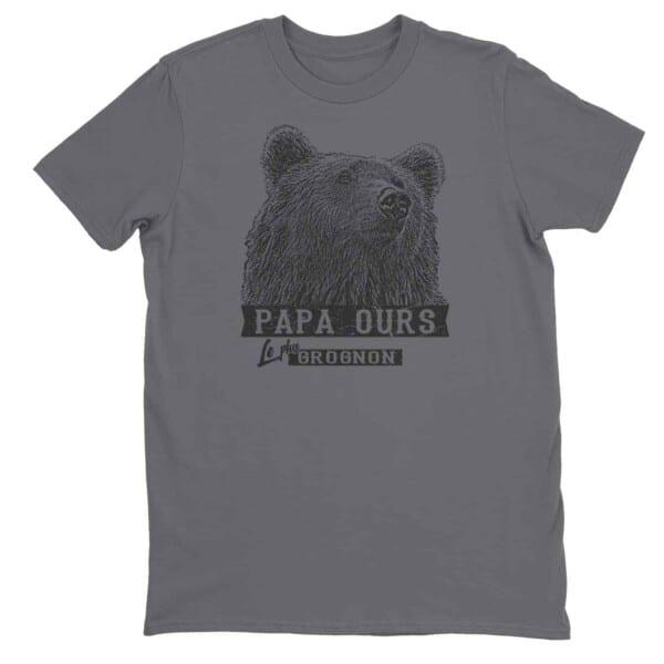 T-shirt Papa ours le plus grognon impression encre à eau fait au Québec 3