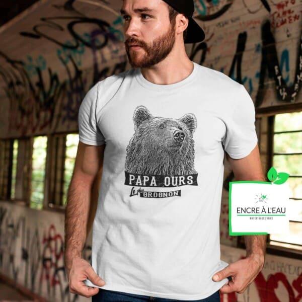 T-shirt Papa ours le plus grognon impression encre à eau fait au Québec 2