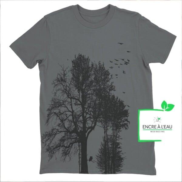 Forest t shirt pour homme impression sérigraphie encre base à l eau éco forêt Québécoise 5