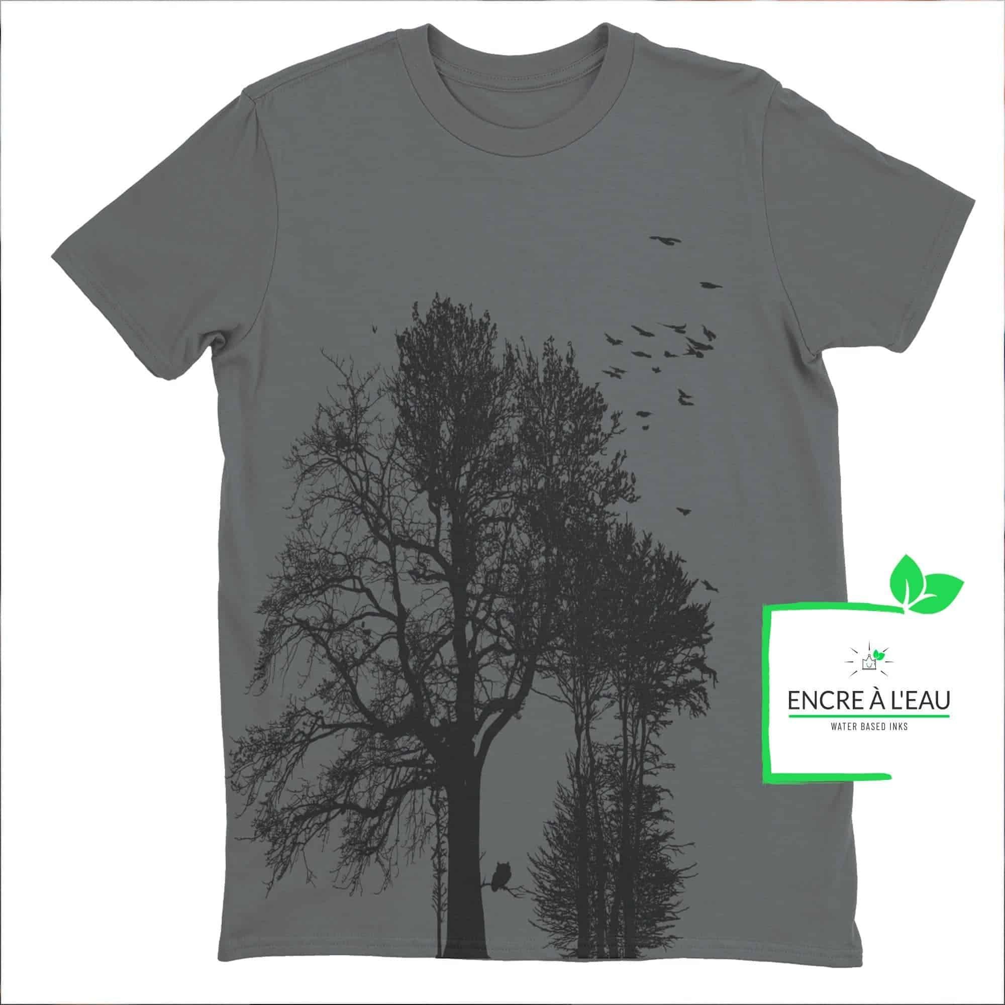 Forest t shirt pour homme impression sérigraphie encre base à l eau éco forêt Québécoise 6