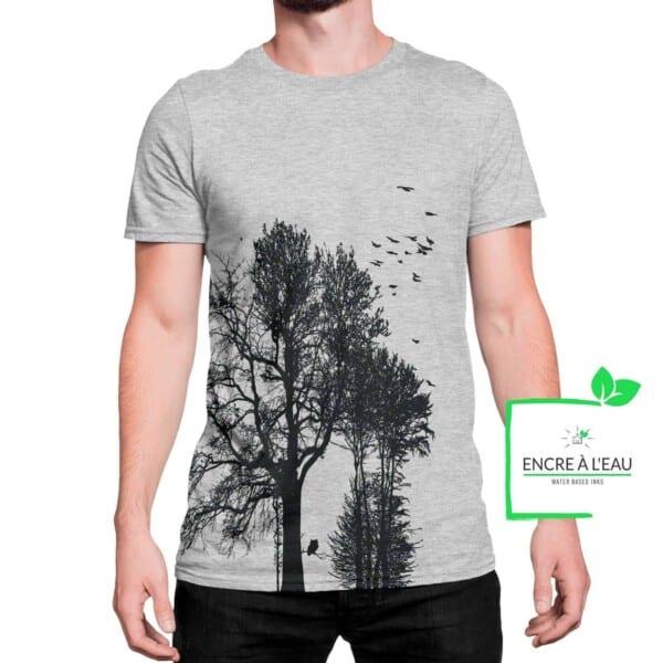Forest t shirt pour homme impression sérigraphie encre base à l eau éco forêt Québécoise 1