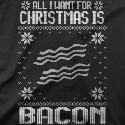 all-i-want-for-christmas-is-bacon Bacon t-shirt pour homme