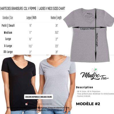 Charte de grandeur T shirt col en V Madjx Québec