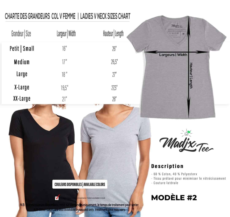 Corbeau et magnolia Col V t-shirt pour femme, encre à base d eau imprimé au Québec 2