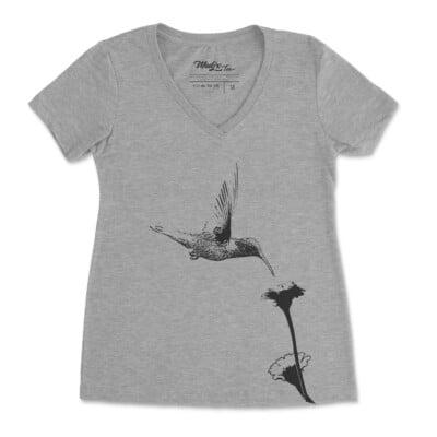 T shirt Colibri et fleur t-shirt pour femme, encre à base d'eau imprimé au Québec