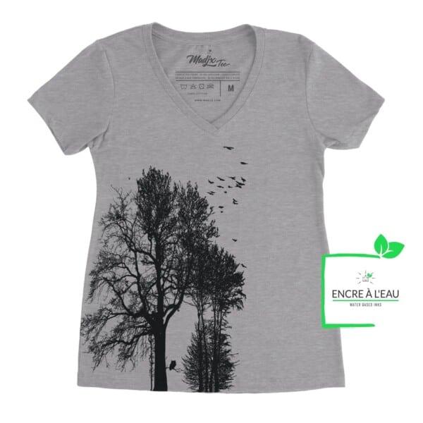 Forest t shirt col en V Forest impression sérigraphie encre base à l'eau éco, imprimé au Québec