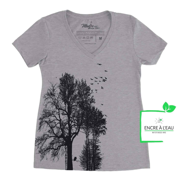 Forest t shirt col en V pour femme impression sérigraphie encre base à l'eau éco, imprimé au Québec