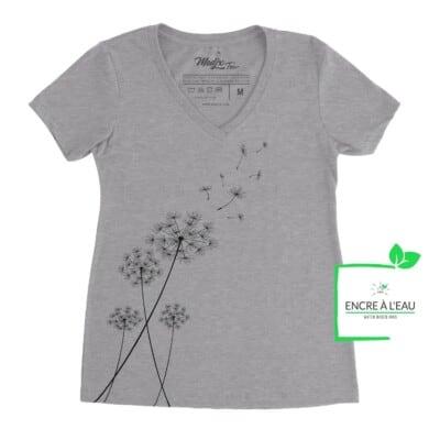 T shirt Corbeau et magnolia Col V t-shirt pour femme, encre à base d'eau imprimé au Québec