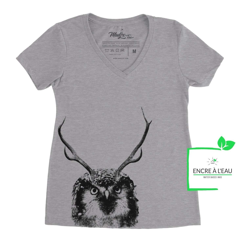 T-shirt col en V pour femme, Panache hibou, Hibou avec panache de chevreuil, imprimé au Québec encre à base d'eau