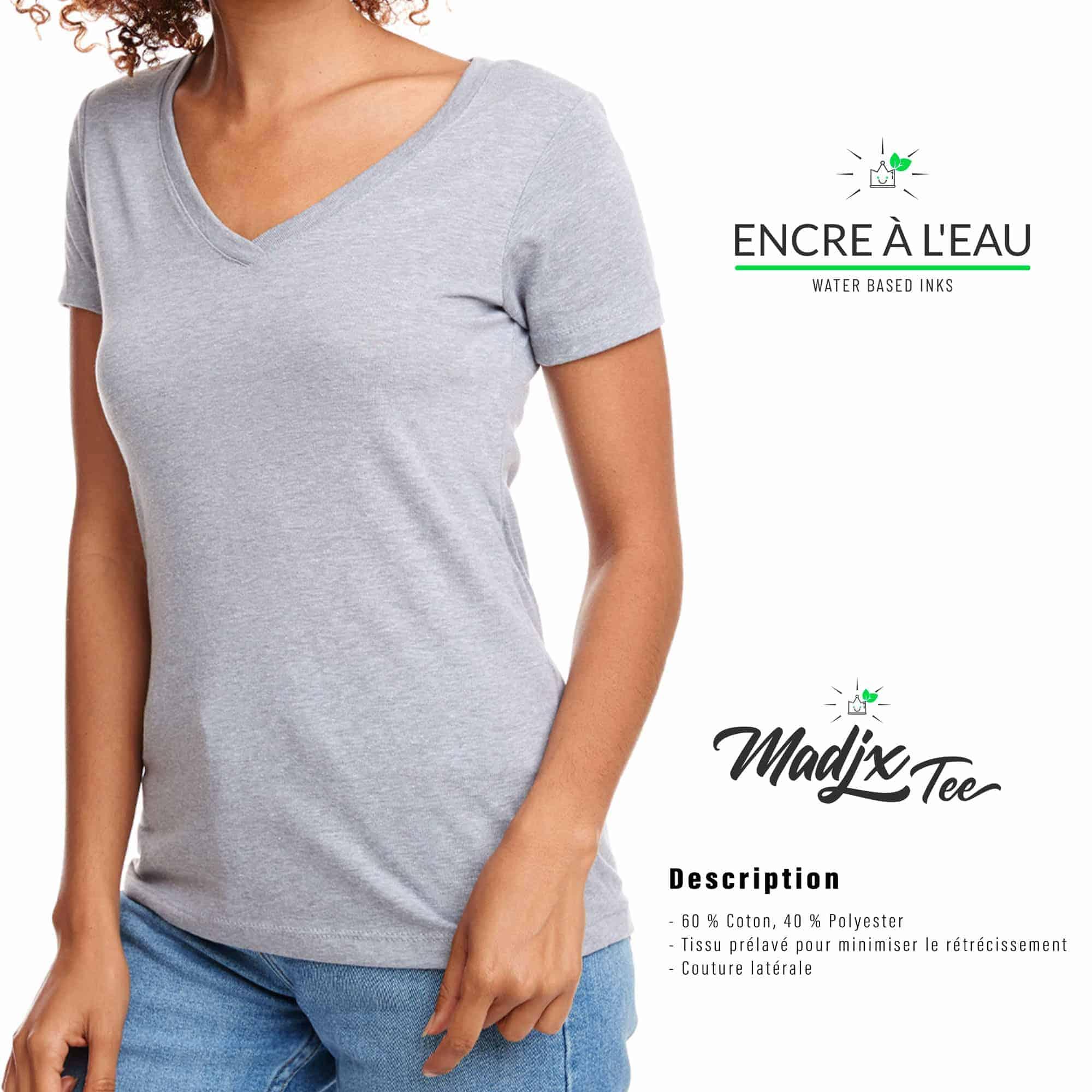 Corbeau et magnolia Col V t-shirt pour femme, encre à base d eau imprimé au Québec 1