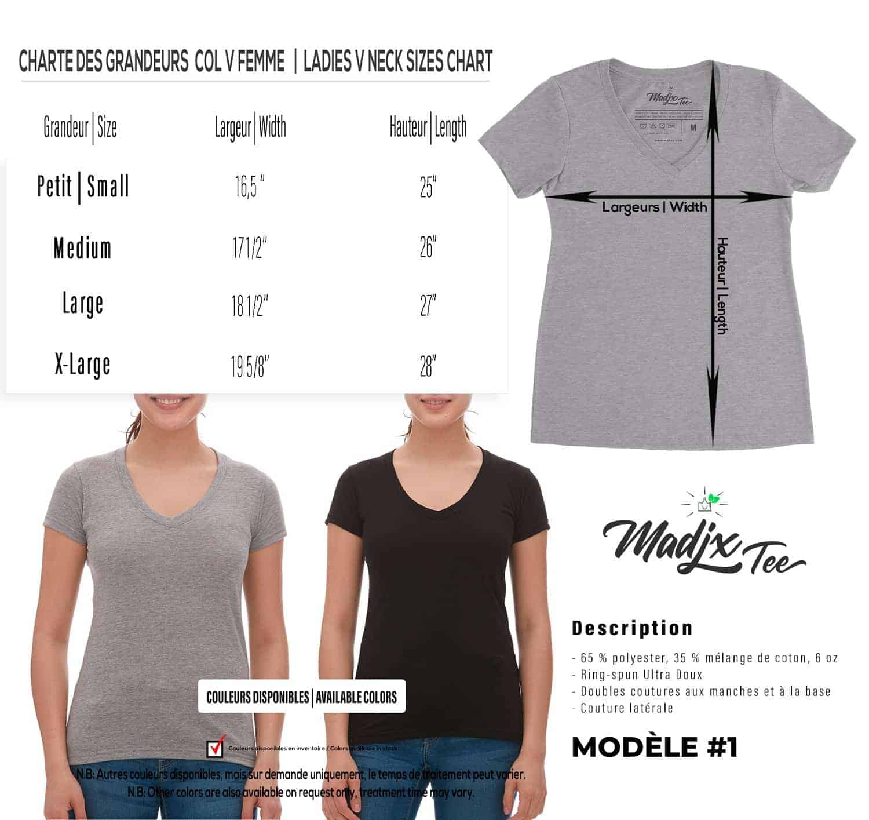 Corbeau et magnolia Col V t-shirt pour femme, encre à base d eau imprimé au Québec 3