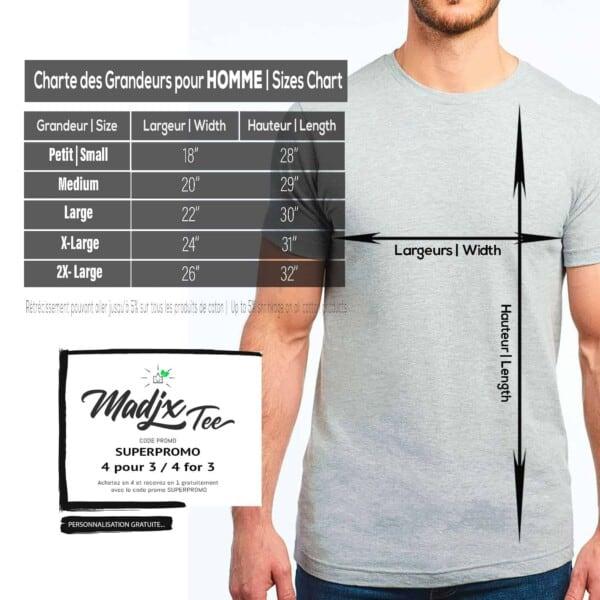 Charte de grandeur T shirt Madjx Québec