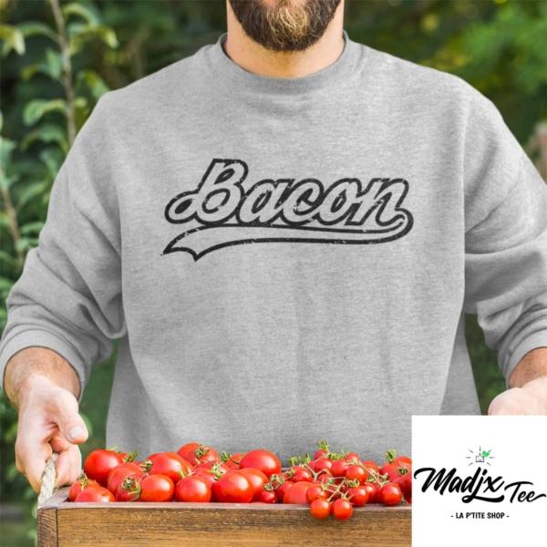 Bacon Baseball Crewneck Unisexe Gris chandail coton ouaté sans capuchon