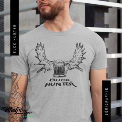 T-shirt Buck Hunter impression encre à eau fait au Québec
