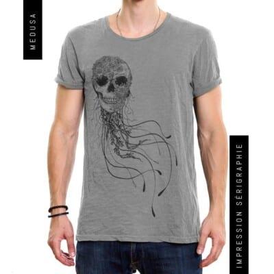 Medusa gris chiné foncé t-shirt encre à l'eau impression fait au Québec chez nous!